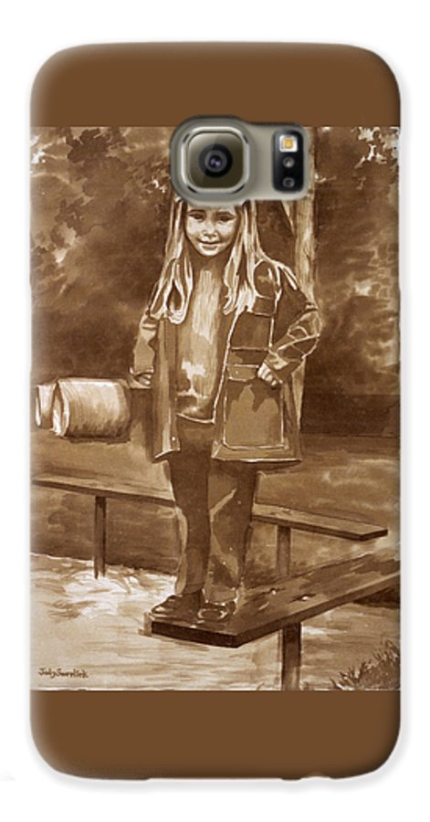 Little Girl On Bench In Park Galaxy S6 Case featuring the painting Playground 2 by Judy Swerlick