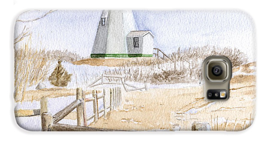 Lighthosue Galaxy S6 Case featuring the painting Plymouth Light In Winter by Dominic White