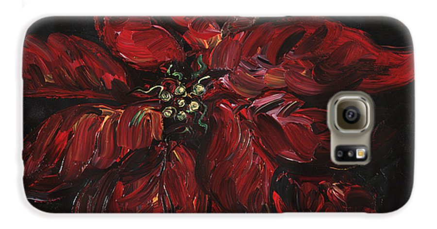 Abstract Galaxy S6 Case featuring the painting Poinsettia by Nadine Rippelmeyer