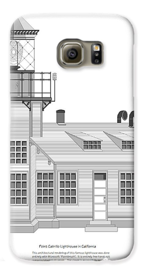 Lighthouse Galaxy S6 Case featuring the painting Point Cabrillo Architectural Drawing by Anne Norskog
