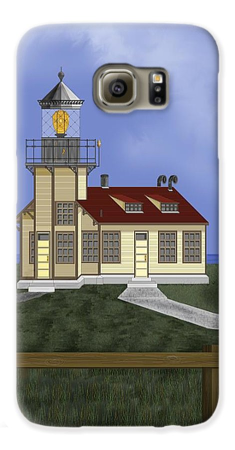 Lighthouse Galaxy S6 Case featuring the painting Point Cabrillo California by Anne Norskog