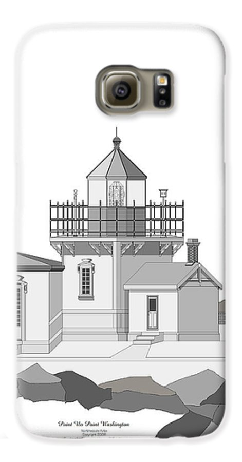 Lighthouse Galaxy S6 Case featuring the painting Point No Point As Architectural Drawing by Anne Norskog