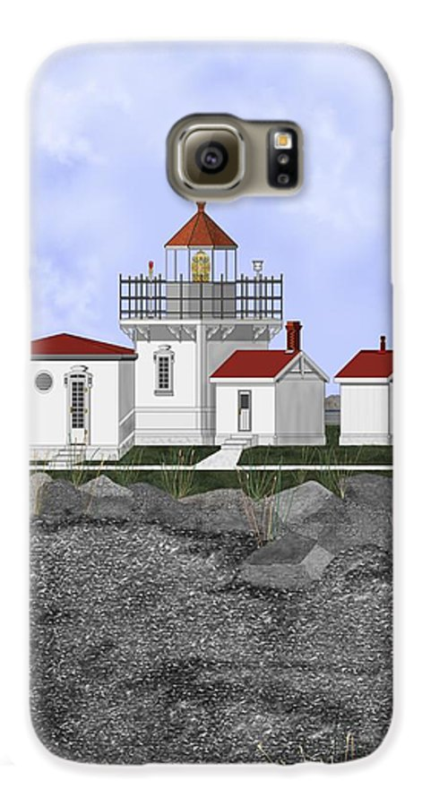 Lighthouse Galaxy S6 Case featuring the painting Point No Point Lighthouse by Anne Norskog