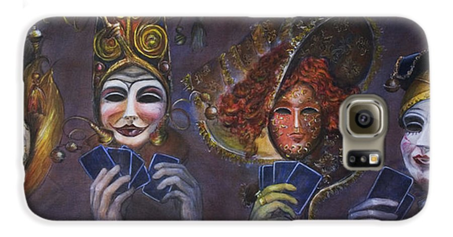 Masks Galaxy S6 Case featuring the painting Poker Face by Nik Helbig