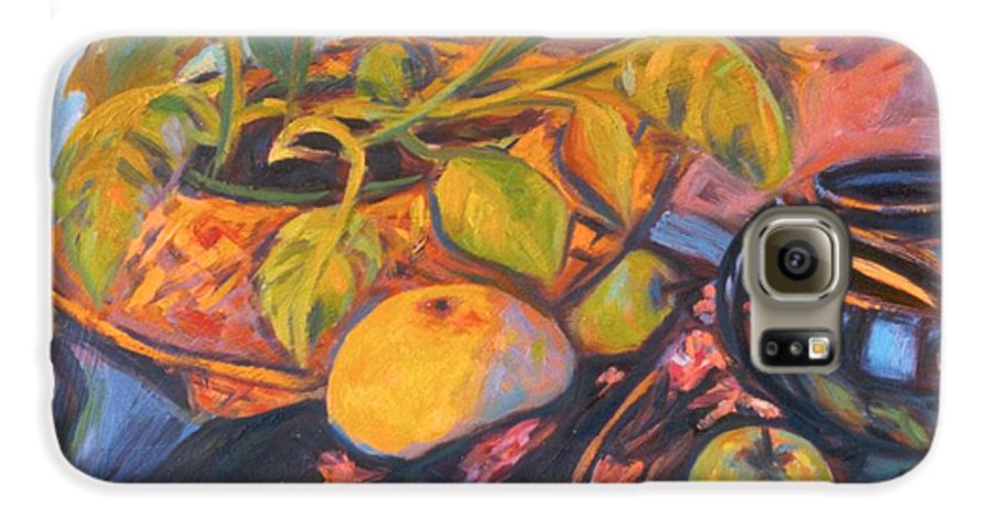 Still Life Galaxy S6 Case featuring the painting Pollys Plant by Kendall Kessler