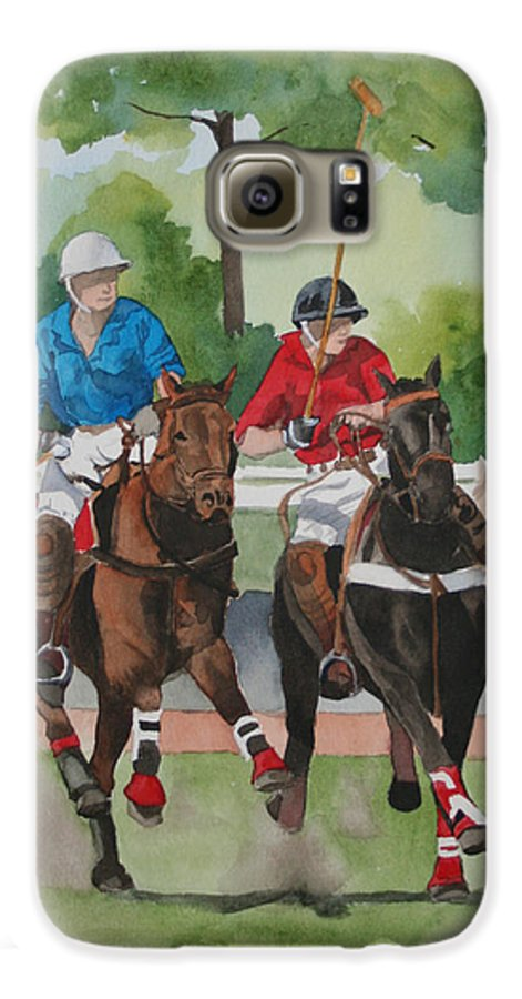 Polo Galaxy S6 Case featuring the painting Polo In The Afternoon 2 by Jean Blackmer