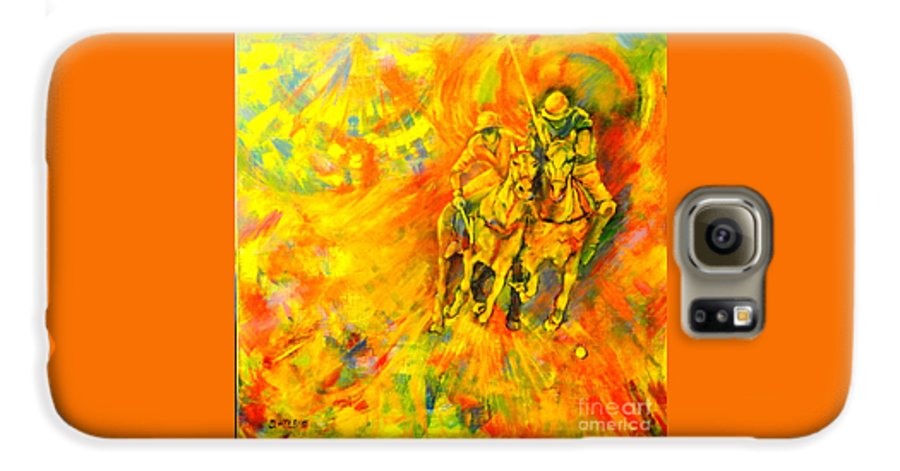 Horses Galaxy S6 Case featuring the painting Poloplayer by Dagmar Helbig