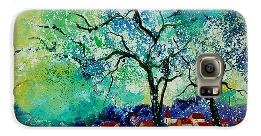 Landscape Galaxy S6 Case featuring the painting Poppies And Appletrees In Blossom by Pol Ledent