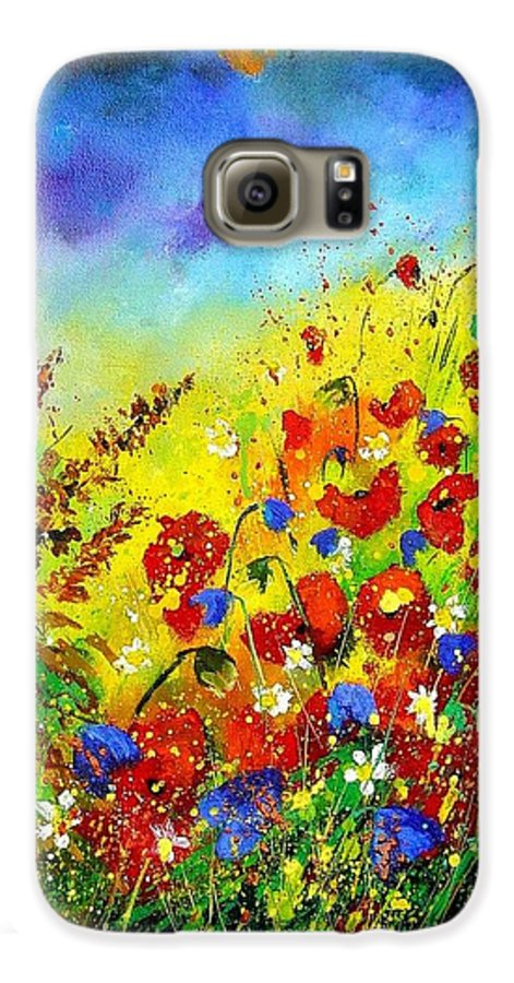 Poppies Galaxy S6 Case featuring the print Poppies And Blue Bells by Pol Ledent