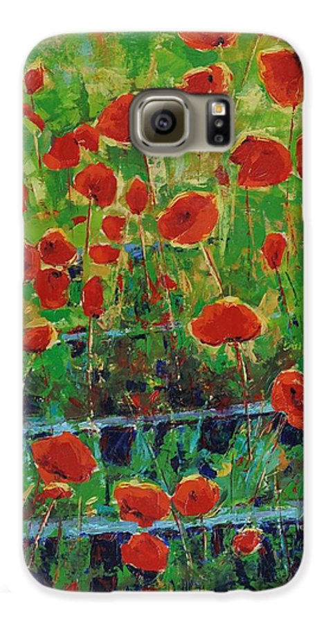 Poppies Galaxy S6 Case featuring the painting Poppies And Traverses 1 by Iliyan Bozhanov