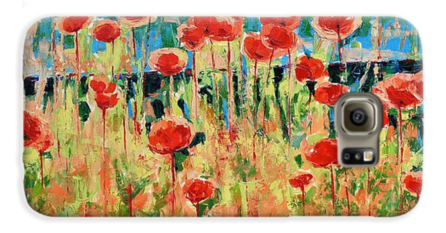 Poppies Galaxy S6 Case featuring the painting Poppies And Traverses 2 by Iliyan Bozhanov