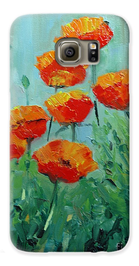 Floral Galaxy S6 Case featuring the painting Poppies For Sally by Glenn Secrest