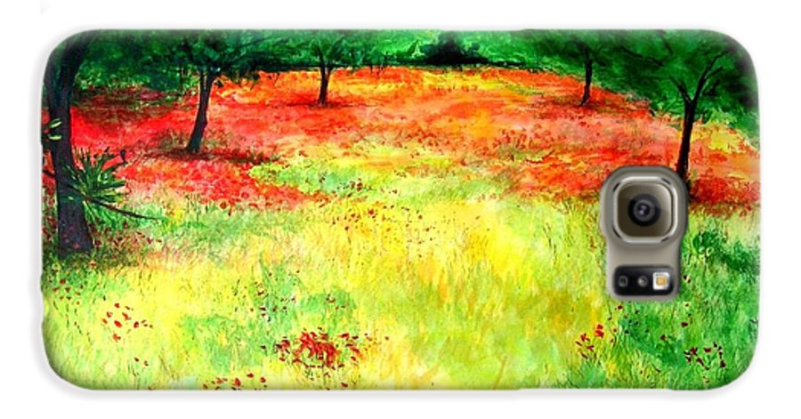 Landscape Galaxy S6 Case featuring the painting Poppies In The Almond Grove by Lizzy Forrester