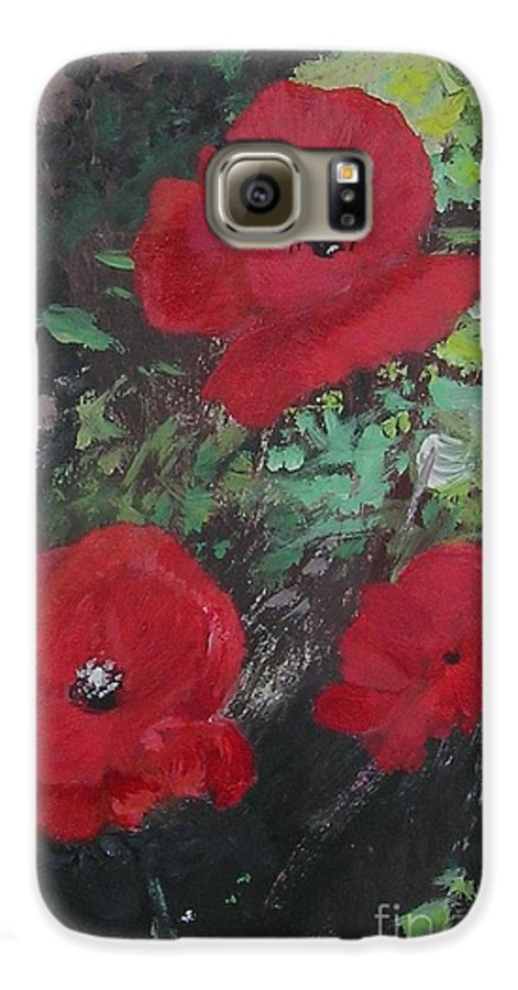 Red Galaxy S6 Case featuring the painting Poppies by Lizzy Forrester