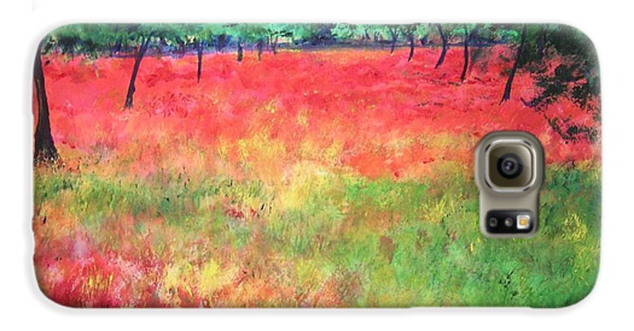 Original Landscape Painting. Poppy Field Galaxy S6 Case featuring the painting Poppy Field II by Lizzy Forrester