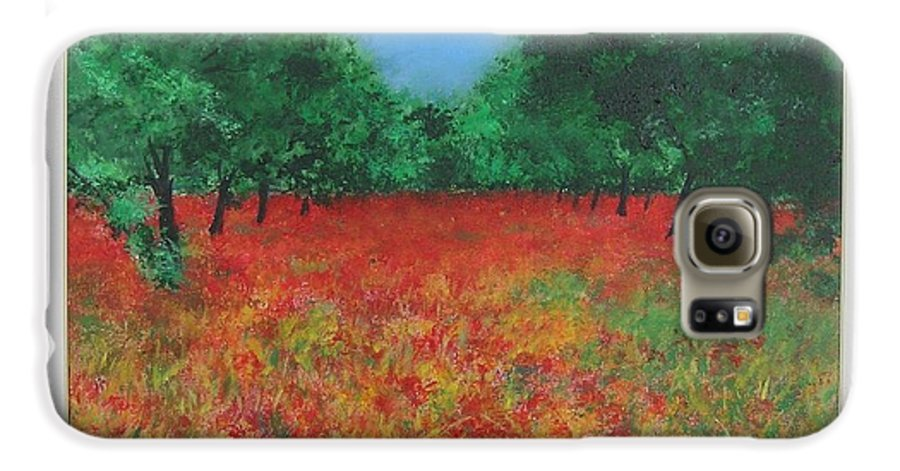 Poppy Galaxy S6 Case featuring the painting Poppy Field In Ibiza by Lizzy Forrester