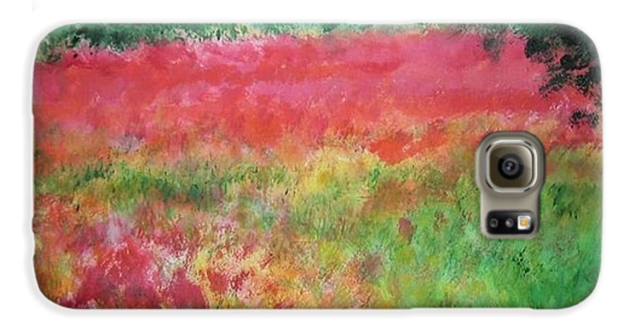 Lanscape Galaxy S6 Case featuring the painting Poppy Field by Lizzy Forrester