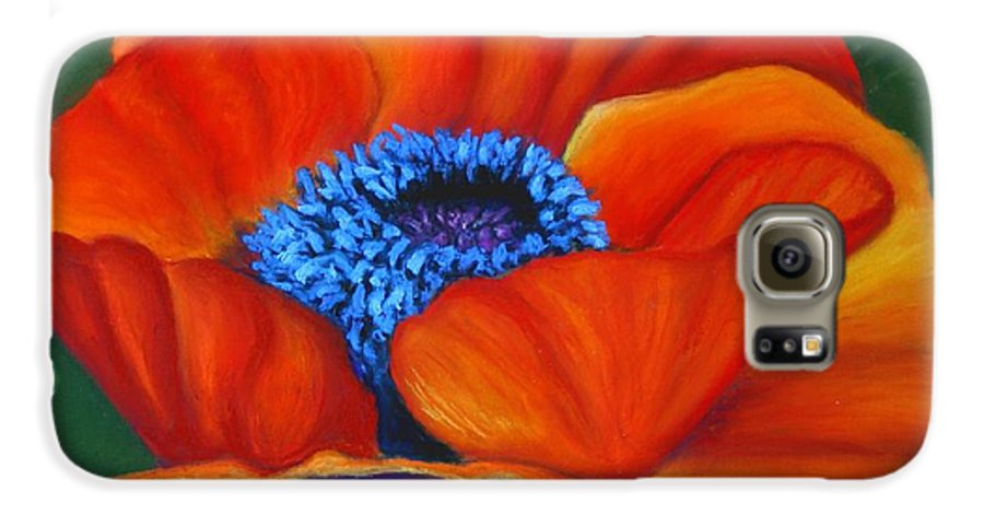 Red Flower Galaxy S6 Case featuring the painting Poppy Pleasure by Minaz Jantz