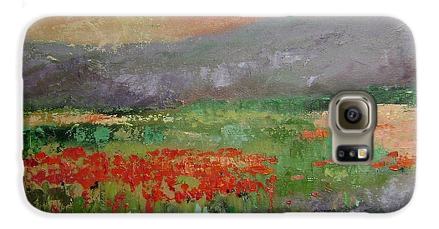 Poppies Galaxy S6 Case featuring the painting Poppyfield by Ginger Concepcion