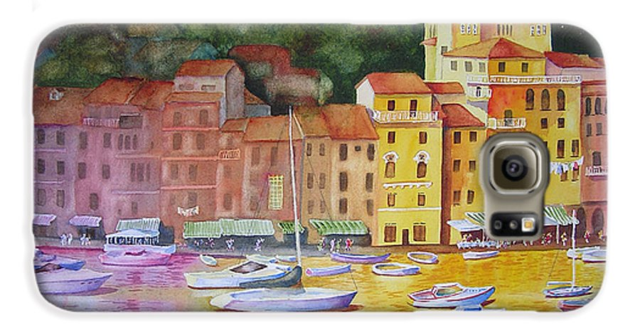 Italy Galaxy S6 Case featuring the painting Portofino Afternoon by Karen Stark