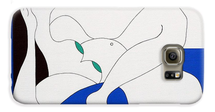 Women Green Bleu White Special Galaxy S6 Case featuring the painting Position Women by Hildegarde Handsaeme