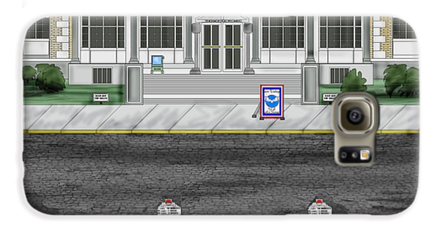 Townscape Galaxy S6 Case featuring the painting Post Office In Thermopolis by Anne Norskog