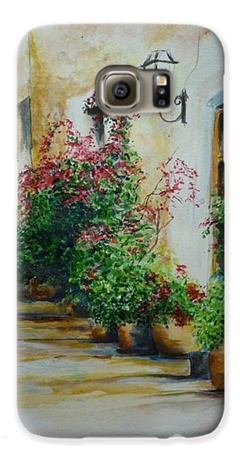 Earthenware Pots Galaxy S6 Case featuring the painting Pots And Plants by Lizzy Forrester