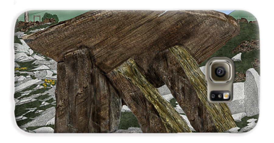 Landscape Galaxy S6 Case featuring the painting Poulnabrone Dolmen County Clare Ireland by Anne Norskog