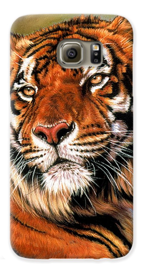 Tiger Galaxy S6 Case featuring the pastel Power And Grace by Barbara Keith