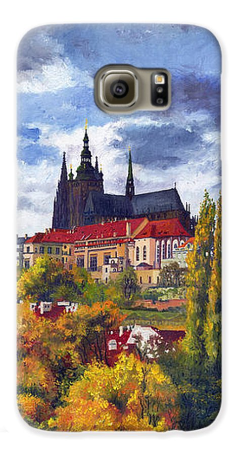 Prague Galaxy S6 Case featuring the painting Prague Castle With The Vltava River by Yuriy Shevchuk
