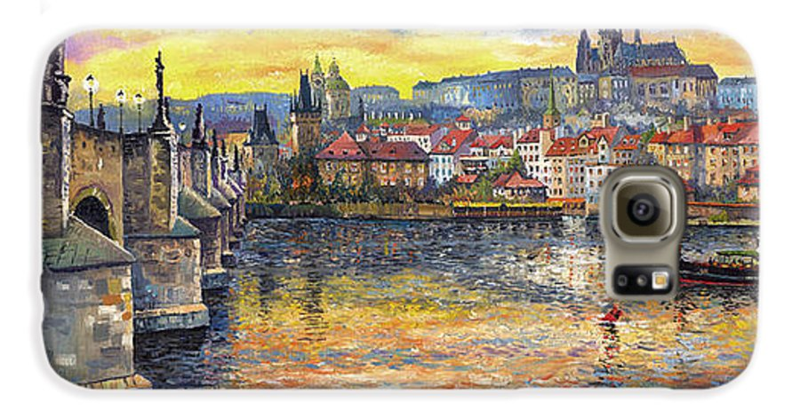 Oil On Canvas Galaxy S6 Case featuring the painting Prague Charles Bridge And Prague Castle With The Vltava River 1 by Yuriy Shevchuk
