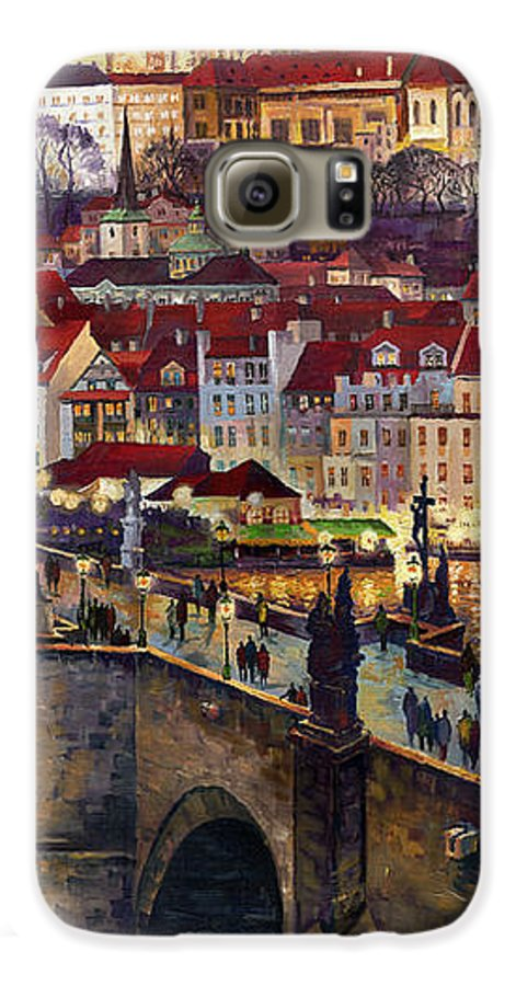 Prague Galaxy S6 Case featuring the painting Prague Charles Bridge With The Prague Castle by Yuriy Shevchuk