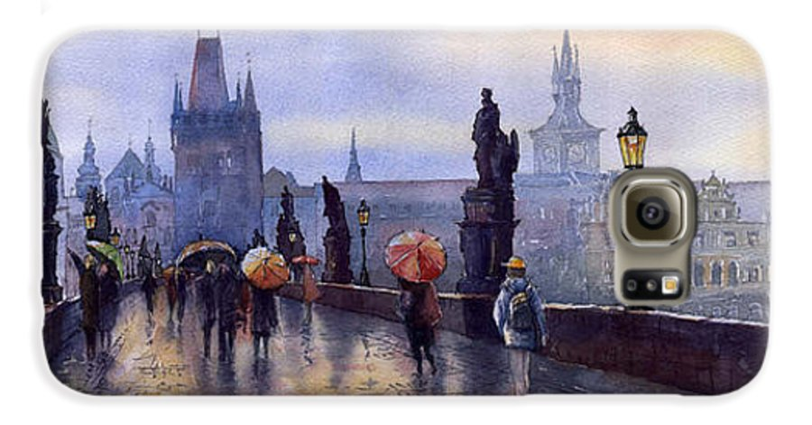 Cityscape Galaxy S6 Case featuring the painting Prague Charles Bridge by Yuriy Shevchuk