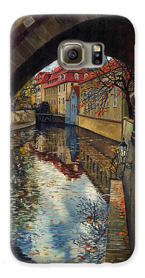 Oil Galaxy S6 Case featuring the painting Prague Chertovka 3 by Yuriy Shevchuk