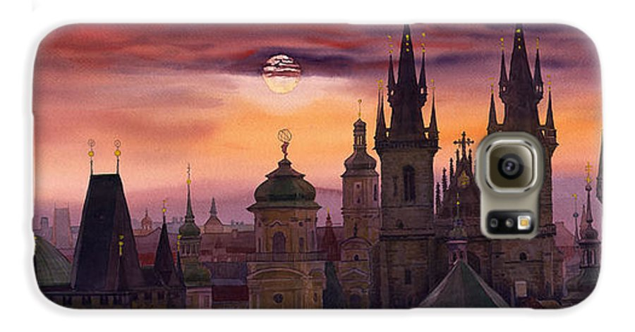 Cityscape Galaxy S6 Case featuring the painting Prague City Of Hundres Spiers by Yuriy Shevchuk