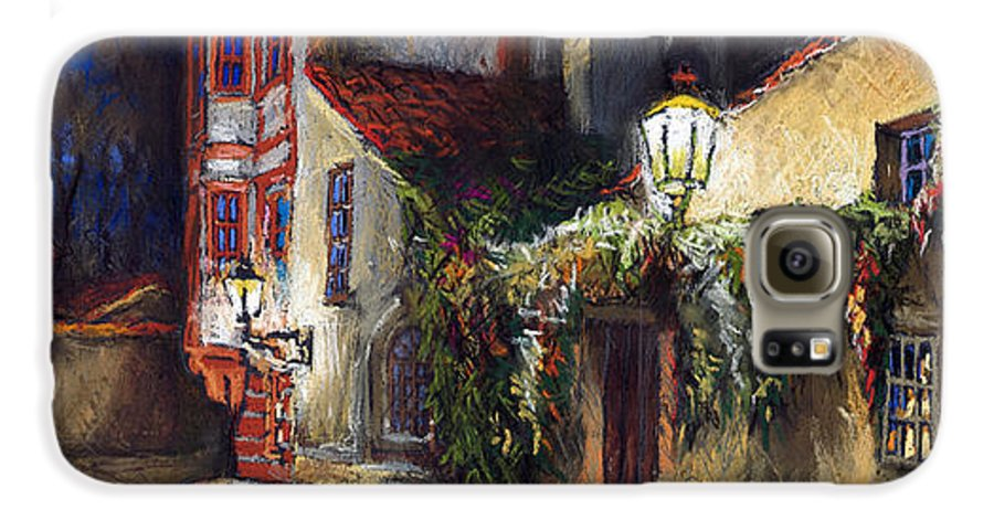 Prague Galaxy S6 Case featuring the painting Prague Novy Svet Kapucinska Str by Yuriy Shevchuk