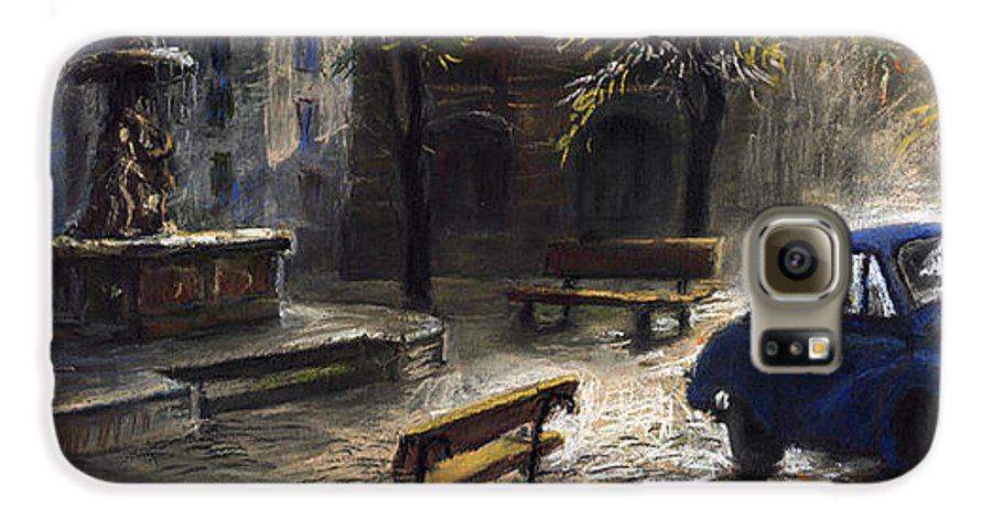 Prague Galaxy S6 Case featuring the painting Prague Old Fountain by Yuriy Shevchuk