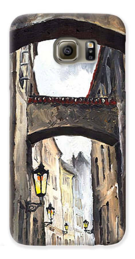 Oil On Canvas Paintings Galaxy S6 Case featuring the painting Prague Old Street 02 by Yuriy Shevchuk