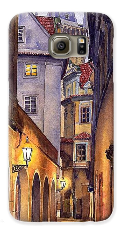 Cityscape Galaxy S6 Case featuring the painting Prague Old Street by Yuriy Shevchuk