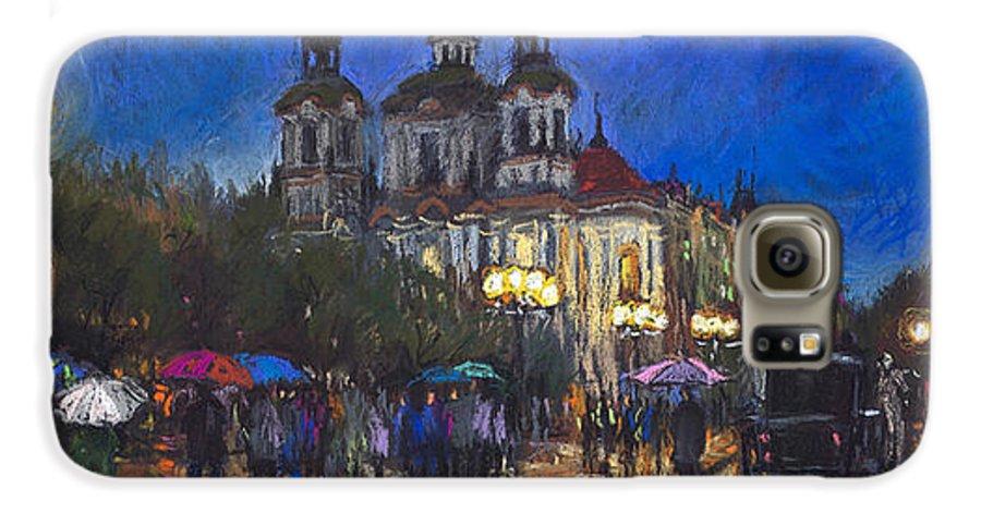 Prague Galaxy S6 Case featuring the pastel Prague Old Town Square St Nikolas Ch by Yuriy Shevchuk