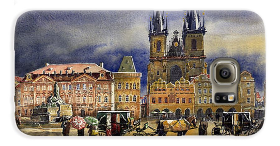 Watercolor Galaxy S6 Case featuring the painting Prague Old Town Squere After Rain by Yuriy Shevchuk