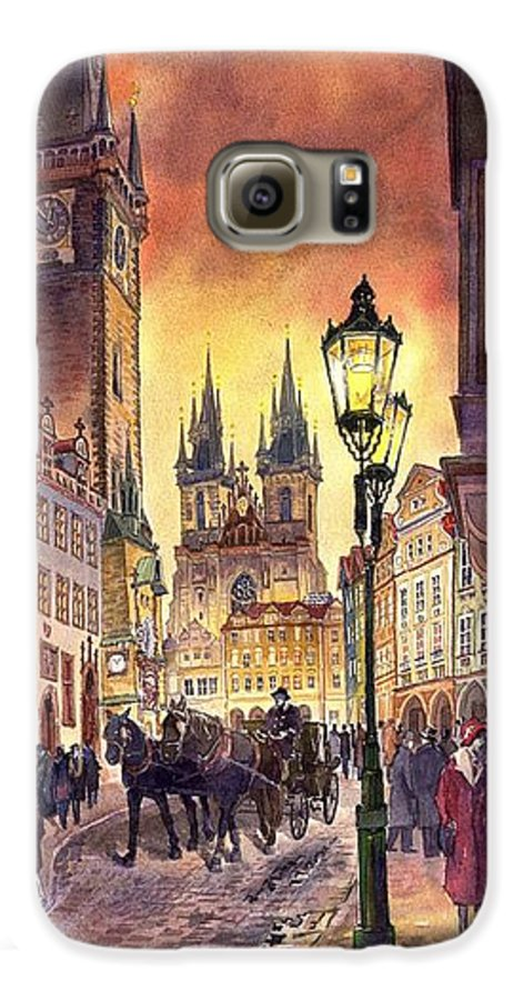 Cityscape Galaxy S6 Case featuring the painting Prague Old Town Squere by Yuriy Shevchuk