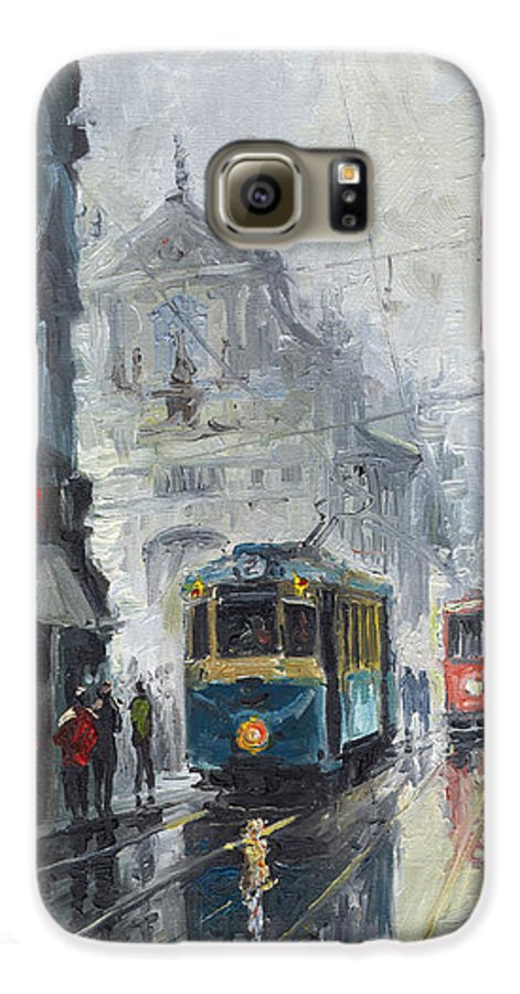 Oil On Canvas Galaxy S6 Case featuring the painting Prague Old Tram 04 by Yuriy Shevchuk
