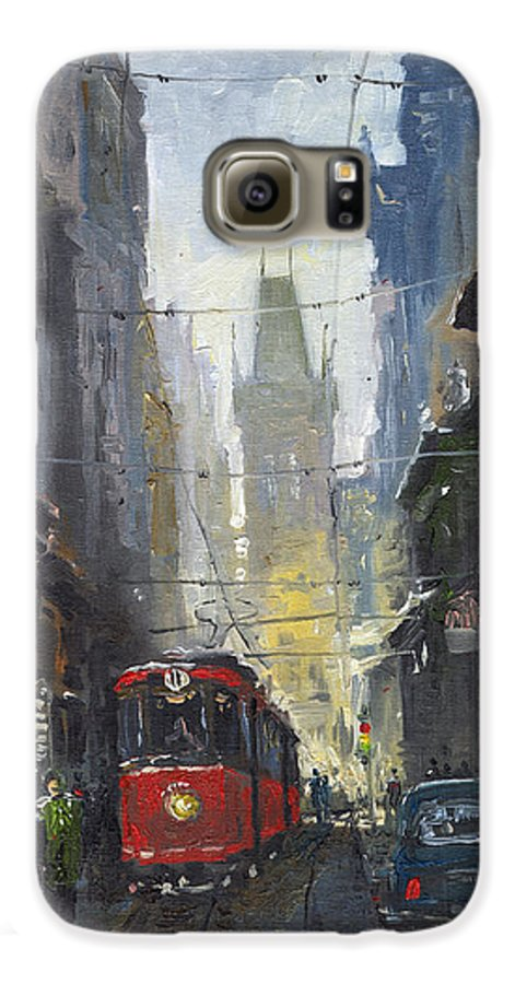 Oil On Canvas Paintings Galaxy S6 Case featuring the painting Prague Old Tram 05 by Yuriy Shevchuk