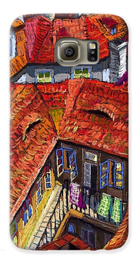 Pastel Galaxy S6 Case featuring the painting Prague Roofs 01 by Yuriy Shevchuk