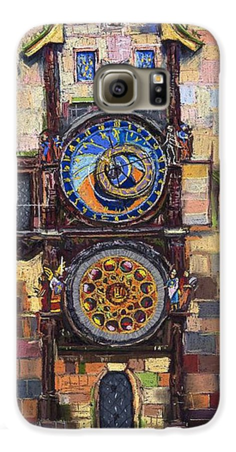 Cityscape Galaxy S6 Case featuring the painting Prague The Horologue At Oldtownhall by Yuriy Shevchuk