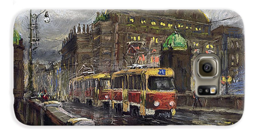 Prague Galaxy S6 Case featuring the painting Prague Tram Legii Bridge National Theatre by Yuriy Shevchuk