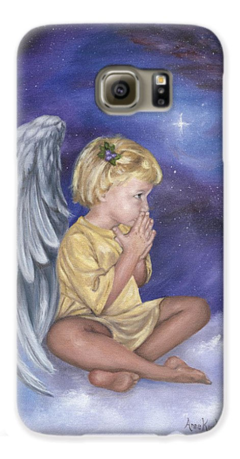 Christmas Galaxy S6 Case featuring the painting Praying Angel by Anne Kushnick