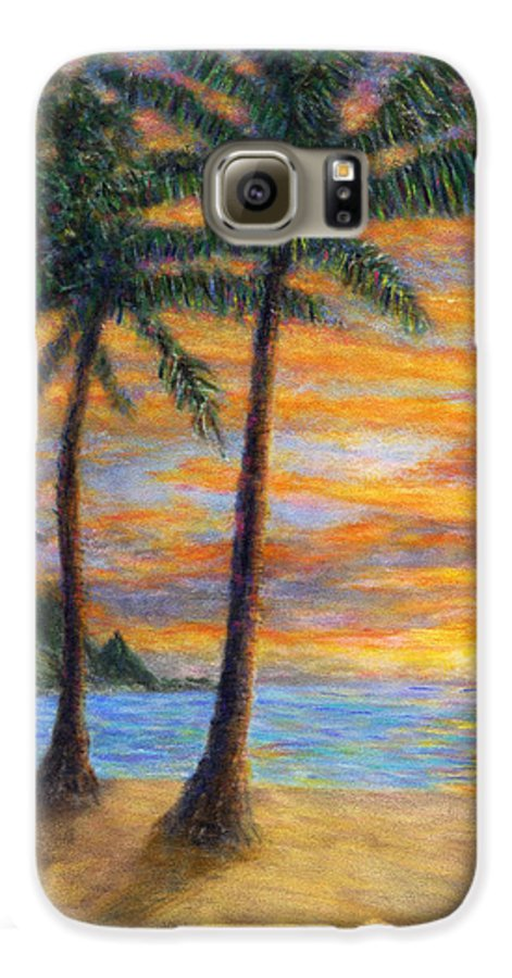 Coastal Decor Galaxy S6 Case featuring the painting Princeville Beach Palms by Kenneth Grzesik
