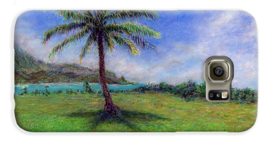 Rainbow Colors Pastel Galaxy S6 Case featuring the painting Princeville Palm by Kenneth Grzesik